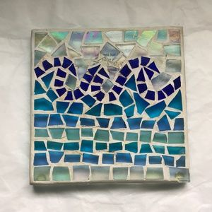 Ocean/Sea waves Stained glass mosaic coaster/plate